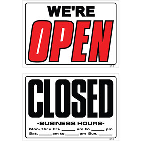 "Auto Shop Signs - ""We're Open"" 14 X 20"