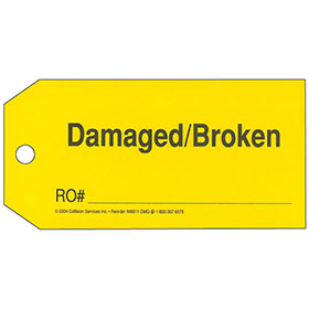 Parts Tags - Damaged/Broken Parts, Yellow Tag