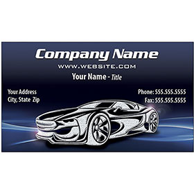 Auto Repair Business Cards with Silver Foil - Blue