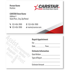CARSTAR - White Double Sided Card - Repair Appointment