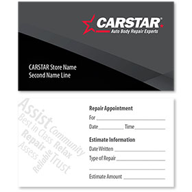 CARSTAR - Black Double Sided Card - Repair Appointment