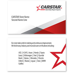 CARSTAR - White Limited Info Double Sided Card - Certifications