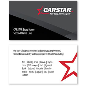 CARSTAR - Black Limited Info Double Sided Card - Certifications