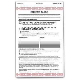 2-Part Carbonless Standard Car Buyers Guide