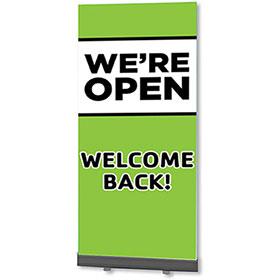 Retractable Banner Stands - We're Open