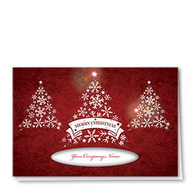 Personalized Premium Foil Holiday Cards - Snowflake Christmas Trees