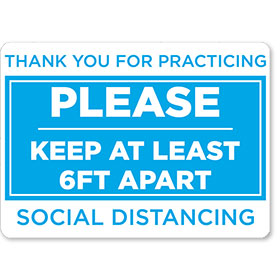 "Please Keep Your Distance 16.5"" x 12"" Blue/White Floor Sign"