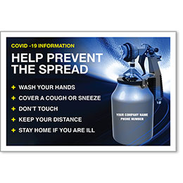 "Help Prevent the Spread COVID-19 Personalized Poster 13"" x 19"""