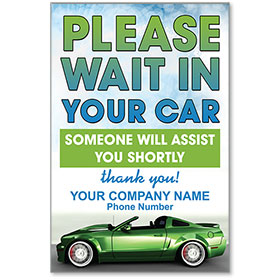 "Please Wait in Your Car Personalized Poster 13"" x 19"""