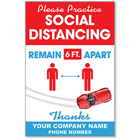 "Please Practice Social Distancing Personalized Poster 13"" x 19"""