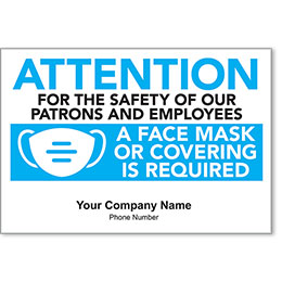 "Attention Face Mask Required Personalized Poster 13"" x 19"""