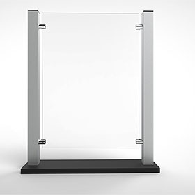 """Countertop Acrylic Shield with Aluminum Frame -  24-1/8"""" H x 19"""" W"""