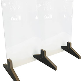 """Countertop Acrylic Shield with Wood Base - 24"""" H x 30"""" W"""
