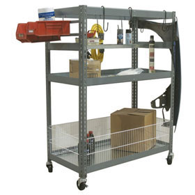 "Champ Deluxe 2-Shelf Parts Station w/Metal Shelf & 12"" Fencing"