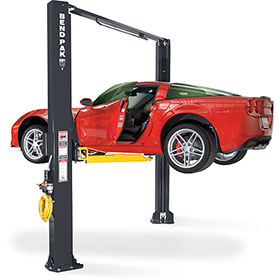 BendPak 10,000-lb. 2-Post Wide Clearfloor Asymmetric Lift with Adjustable Width XPR-10AS-LP