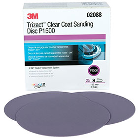 "3M™ Trizact Hookit™ Clear Coat 6"" Sanding Discs P1500 02088"