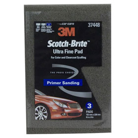 "3M Scotch-Brite Ultra Fine Hand Pad Gray, 6"" x 9"", 3 pads/pack - 37448"