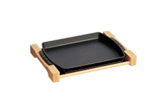 "Staub Cast Iron 15"" x 9"" Rectangular Serving Dish with Wood Base Matte Black"