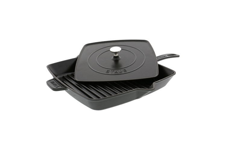 """Staub Cast Iron 12"""" Square Grill Pan and Press Sets"""