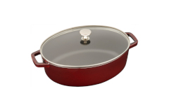 Staub Cast Iron Shallow Wide Oval Cocottes with Glass Lid