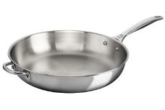"""Le Creuset Premium Stainless Steel 11"""" Deep Fry Pan with Helper Handle"""
