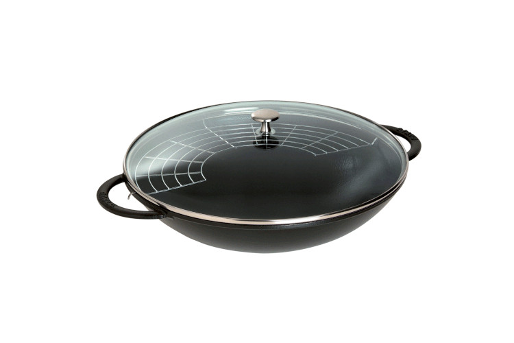 Staub Cast Iron 6 Quart Wok with Glass Lid Matte Black