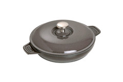 "Staub Cast Iron 7.9"" Round Covered Baking Dish Graphite Grey"
