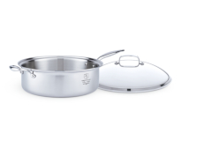 Hammer Stahl Stainless Steel 8 Quart Family Sauté Pan with Lid