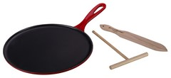"Le Creuset Cast Iron 10.75"" Crêpe Pan with Râteau and Spatula Cerise"