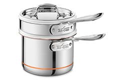 All-Clad Copper Core 2 Quart Saucepan with Porcelain Double Boiler & Lid