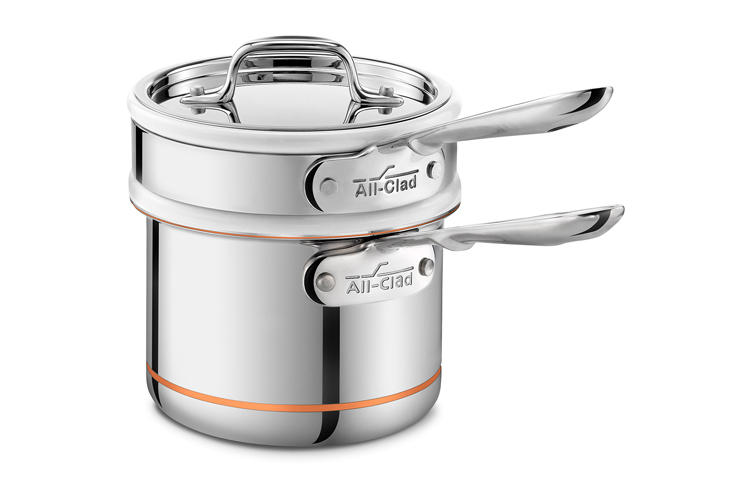 All-Clad Copper Core 2 Quart Saucepan with Porcelain Double Boiler & Lid