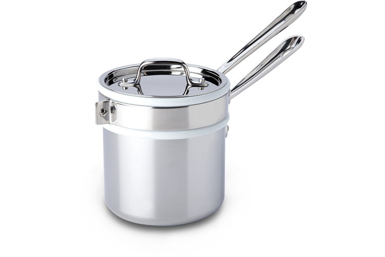 All-Clad d3 Stainless 2 Quart Saucepan with Porcelain Double Boiler & Lid