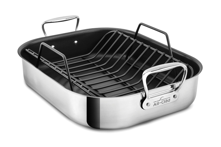 "All-Clad Stainless 16"" x 13"" Nonstick Roasting Pan with Rack"