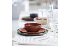 Casafina Pacifica 12 Piece Dinnerware Set with Cereal Bowl - Cayenne