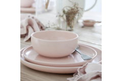 Casafina Pacifica 12 Piece Dinnerware Set with Cereal Bowl - Marshmallow Rose