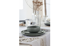Casafina Pacifica 12 Piece Dinnerware Set with Cereal Bowl - Artichoke Green