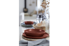 Casafina Pacifica 12 Piece Dinnerware Set with Pasta Bowl - Cayenne