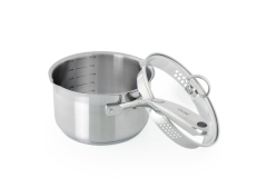Chantal Induction 21 Stainless Steel 2.5 Quart Saucepan w/Pour Spout and Strainer