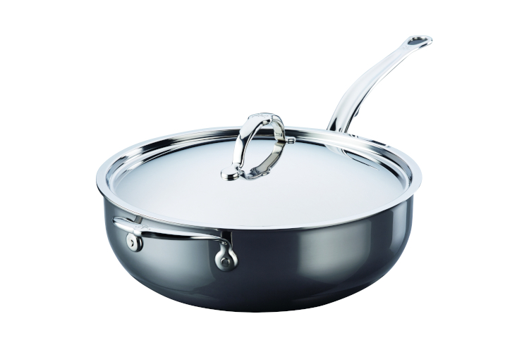 Hestan NanoBond Stainless Steel 5 Quart Covered Essential Pan with Helper Handle