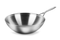 Demeyere Industry5 Stainless Steel 5 Quart Flat Bottom Wok