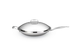 "Hammer Stahl 13.5"" Stainless Steel Shallow Wok & Cover"