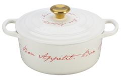 """Le Creuset Cast Iron 4.5 Quart """"Bon Appetit"""" White Round Oven with Gold Knob"""