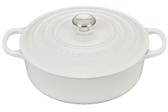 Le Creuset Signature Cast Iron 6 3/4 Quart Round Wide Dutch Oven - White