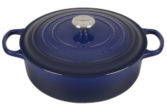Le Creuset Signature Cast Iron 6 3/4 Quart Round Wide Dutch Oven - Indigo