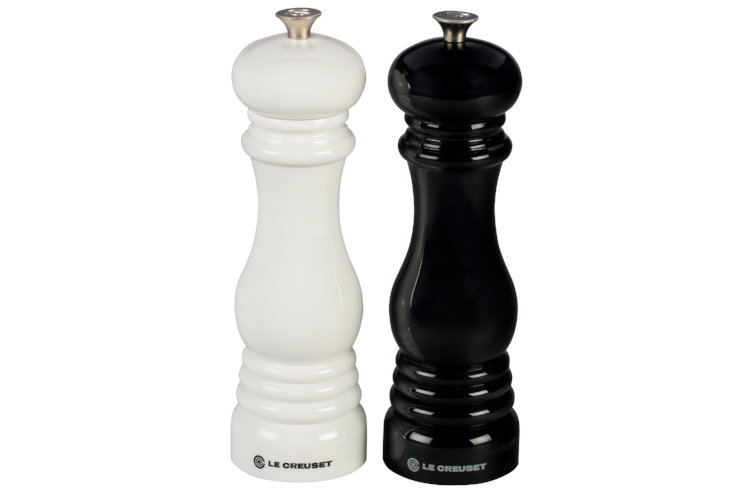 "Le Creuset 8"" Salt and Pepper Mill Set Black and White"