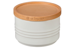 Le Creuset Stoneware 12oz Canister with Wood Lid White