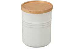 Le Creuset Stoneware 2.5 Quart Canister with Wood Lid White