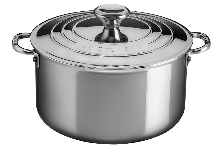 Le Creuset Premium Stainless Steel 6.3 Quart Deep Casserole with Lid