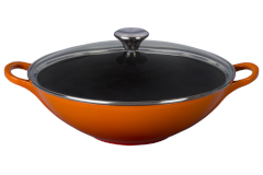Le Creuset Cast Iron 5 Quart Woks with Glass Lid