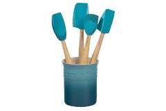 Le Creuset Craft Series 5-Piece Utensil Set with Crock - Caribbean